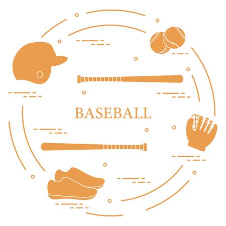 Baseball equipment with glove, balls, baseball bats, baseball helmet, shoes.  Sports elements.