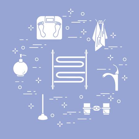 Bathroom elements:  scales, towel warmer, faucet, plunger, glasses, soap dispenser, towels. Design for poster or print.