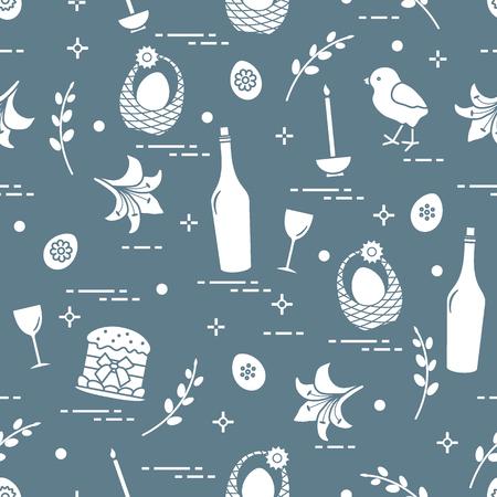 Pattern of Easter symbols like Easter cake, chick, lily, baskets, eggs and other design for banner, poster or print. Ilustração