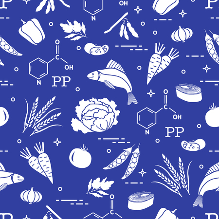 Seamless pattern with foods rich in vitamin PP. Beans, fish, tomato, soya beans, peas, garlic, wheat, carrots, spinach, cabbage, pepper. Stock Illustratie