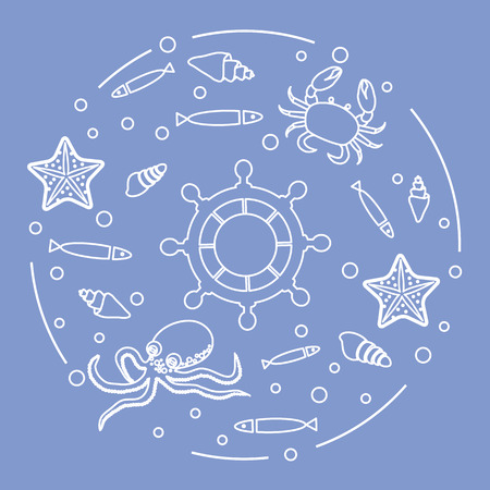 Steering wheel and sea inhabitants with fish, seashells, starfish, crab, octopus. Design for banner, poster or print. Illustration