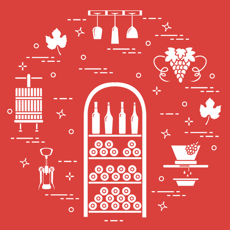 Winemaking, the production and storage of wine. Culture of drinking wine. Design for announcement, advertisement, print.