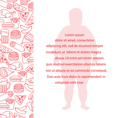 Fat man with unhealthy lifestyle symbols. Harmful eating habits. Design for banner and print. Standard-Bild - 97180118