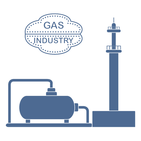 Gas processing plant. Gas storage tank. Design for announcement, advertisement, banner or print.  イラスト・ベクター素材