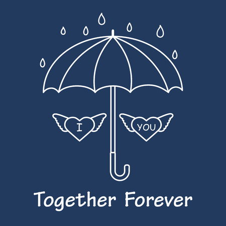 Two hearts with wings under an umbrella in the rain. Design for banner, poster or print.