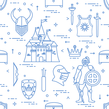 Seamless pattern with knight, castle, shields, swords, helmet, crown, treasure chest, bow, quiver of arrows. Design for banner or print.