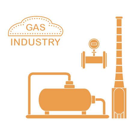 Gas processing plant. Industrial gas meter. Design for announcement, advertisement, banner or print. Illustration