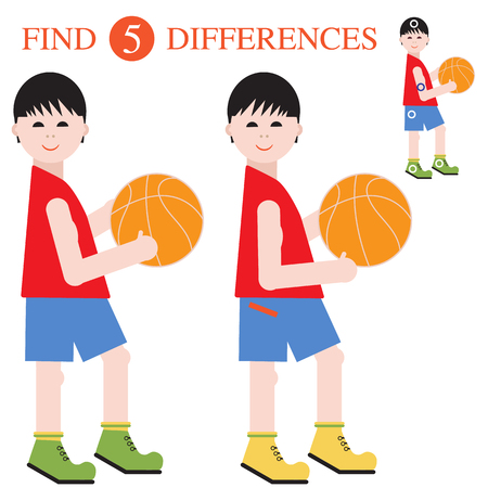 Basketball players with a ball. Find 5 differences. Educational games for children.