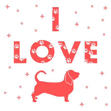 Phrase: I Love and dog. The message is decorated with traces. Template for design, print. Illustration