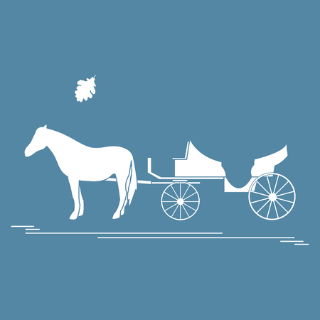 Vector illustration with horse-drawn carriage and oak leaf. Travel and leisure. Design for banner, poster or print. Ilustracja