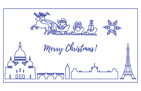Santa Claus with Christmas presents in sleigh with reindeer flying over Paris. New Year and Christmas illustration. Design for greeting card, poster or print.