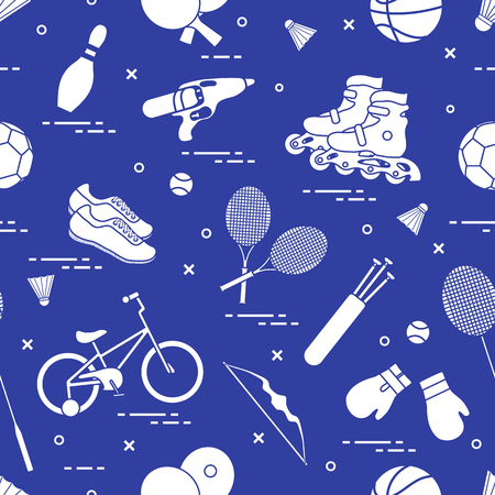 Pattern with bicycle, rollers, boxing gloves, water pistol and goods for bowling, table tennis, tennis, badminton, football, basketball, archery.