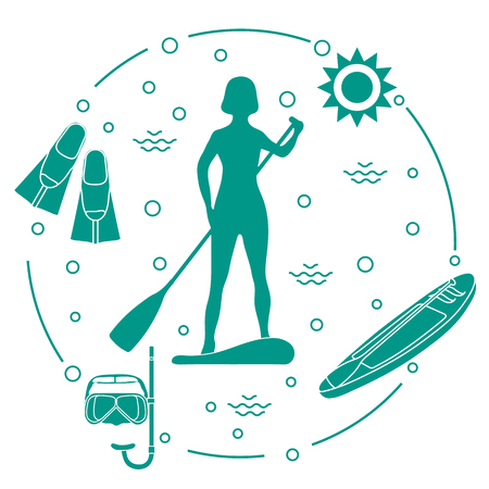 Woman paddling a stand up paddle board, mask, snorkel, flippers, sun, boat, paddle. Sports and recreation theme.