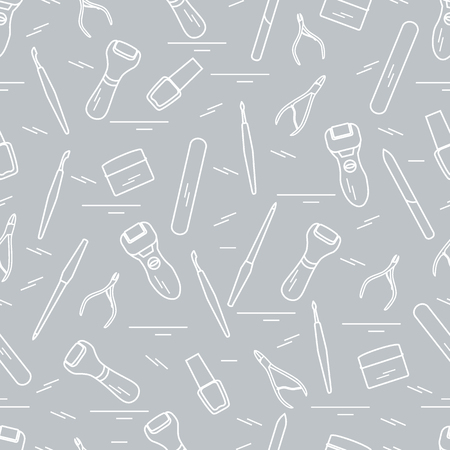 Seamless pattern with variety tools for manicure and pedicure. Personal care. Design for banner, poster or print. Vector illustration.