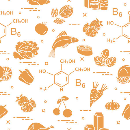 Seamless pattern with foods rich in vitamin B6. Strawberry, orange, chicken, milk, dairy products, yogurt, cherries, fish, tomato, garlic, walnuts, carrots, spinach, cabbage, pepper. Vector illustration.