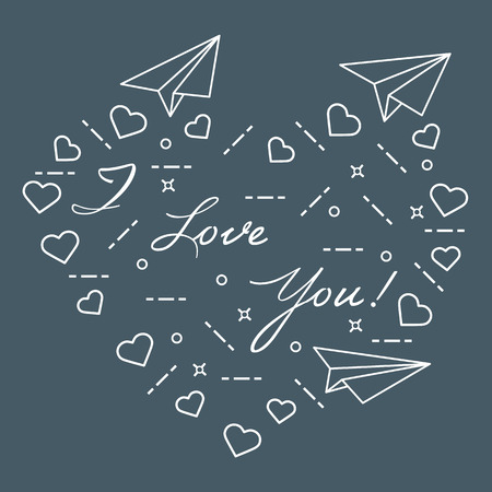 Paper airplane, hearts and inscription i love you. Template for design, fabric, print. Valentine's Day. Ilustração