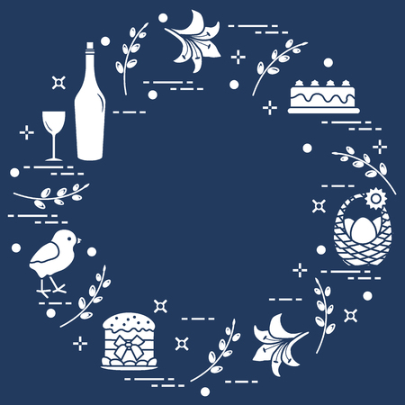 Different Easter symbols arranged in a circle: simnel cake, chick, lily, baskets, eggs and other. Design for banner, poster or print.  Ilustração