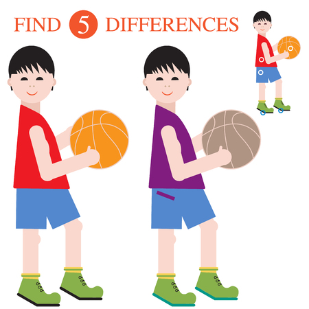 Boys basketball players with a ball. Find 5 differences. Educational games for children. Vector illustration. Çizim