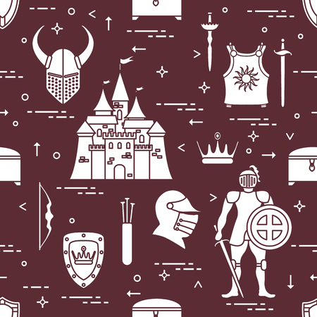 Seamless pattern with knight, castle, shields, swords, cuirass, helmet, crown, treasure chest, bow, quiver of arrows. Design for banner or print. Vector illustration.