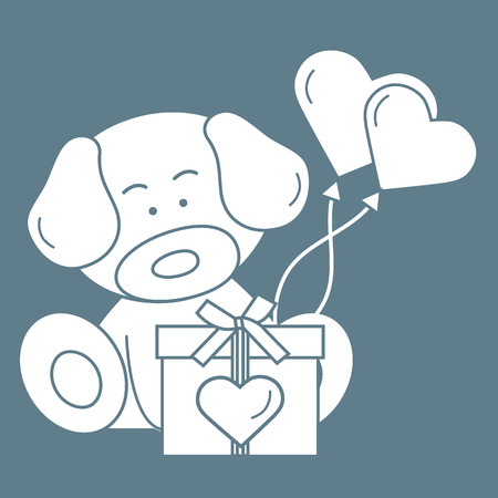Cute puppy with gift, hearts and balloons. Greeting card Valentine's Day. Design for banner, poster or print.