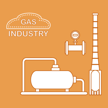 Gas processing plant. Industrial gas meter. Design for announcement, advertisement, banner or print. Vector illustration. Illustration