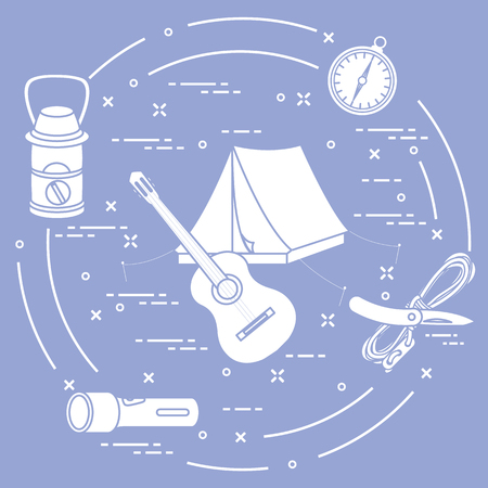 Tourism and outdoor recreation. Tourist tent, guitar, flashlight, rope, knife, compass, lamp. Vector illustration.