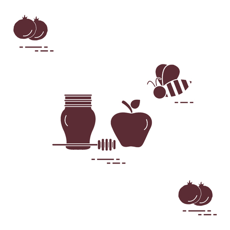 Apple in honey in Rosh Hashanah, pomegranate, bee. Traditional Jewish food and symbols. Design for postcard, banner, poster or print. Vector illustration. Illustration