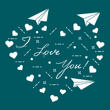 Vector illustration - Paper airplane, hearts and inscription i love you. Template for design, fabric, print. Valentines Day.