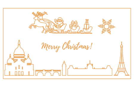 Santa Claus with Christmas presents in sleigh with reindeers flying over Paris. New Year and Christmas illustration. Design for greeting card, poster or print. Illustration