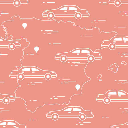 Pattern with cars and map of Spain. Travel and leisure. Design for announcement, advertisement, banner or print. Vector illustration.