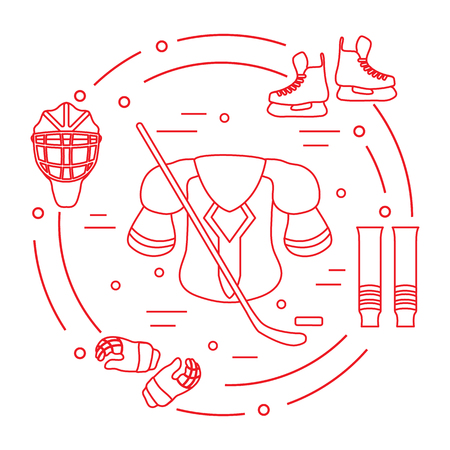 Skates, gloves, helmet, shoulder pads, hockey stick, hockey socks, ice hockey puck. Hockey equipment. Winter sports elements.