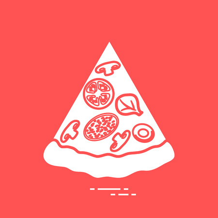 Delicious slice of pizza. Design for banner, poster or print. Vector illustration.