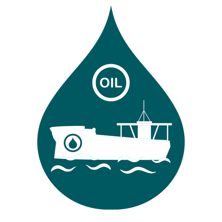 Drop inside which a tanker carrying oil. Production and transportation of oil. Vector illustration.