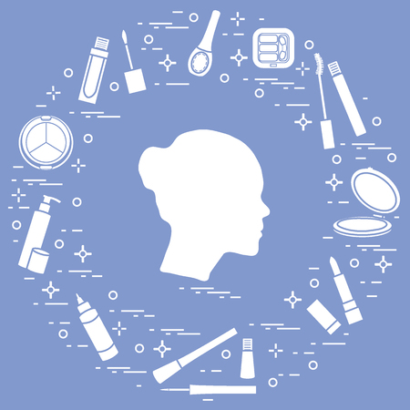 Silhouette of female head and various accessories for the application of decorative cosmetics. Glamour fashion vogue style. Vector illustration. 일러스트
