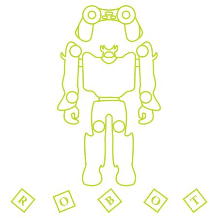 Toys for children: robot, remote control, cubes. Design for banner, poster or print. Vector illustration. Illustration
