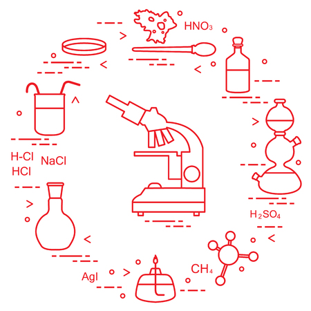 Vector illustration - Chemistry scientific, education elements: microscope, Petri dish, dropper, flasks, camera Kippa, formulas, beaker, burner, amoeba. Design for banner, poster or print.