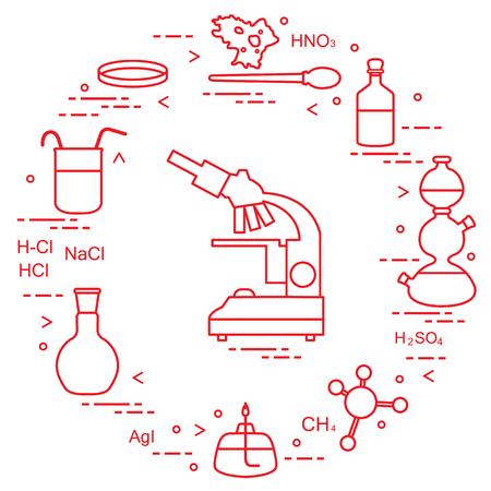 Vector illustration - Chemistry scientific, education elements: microscope, Petri dish, dropper, flasks, camera Kippa, formulas, beaker, burner, amoeba. Design for banner, poster or print.