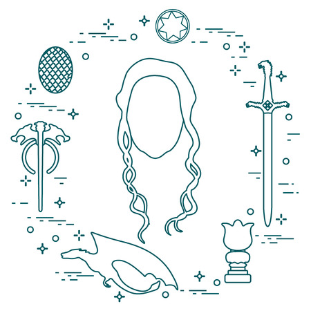 line icons set - woman with long hair, sword, dragon. Vector illustration.