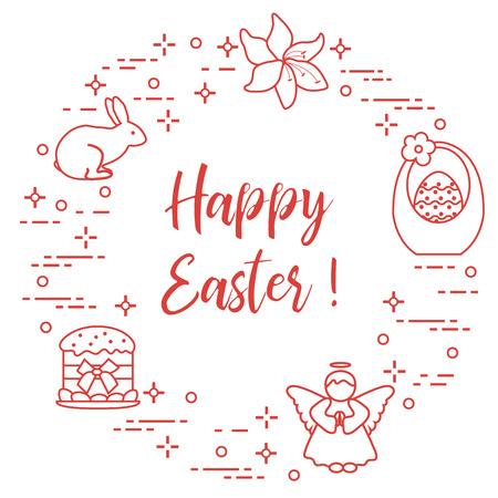 Easter symbols. Easter cake, basket, eggs, rabbit, flowers, angel. Vector illustration.