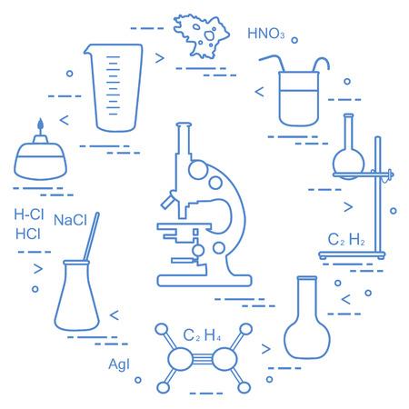Chemistry scientific, education elements: microscope, flasks, tripod, formulas, beaker, burner, amoeba, measuring cup. Design for banner, poster or print. Vector illustration.