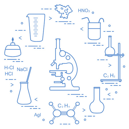 Chemistry scientific, education elements: microscope, flasks, tripod, formulas, beaker, burner, amoeba, measuring cup. Design for banner, poster or print. Vector illustration.