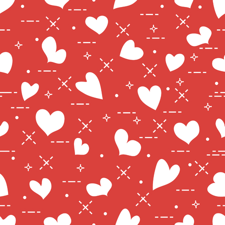 Cute seamless pattern with hearts. Template for design, fabric, print. Valentines day. Illustration