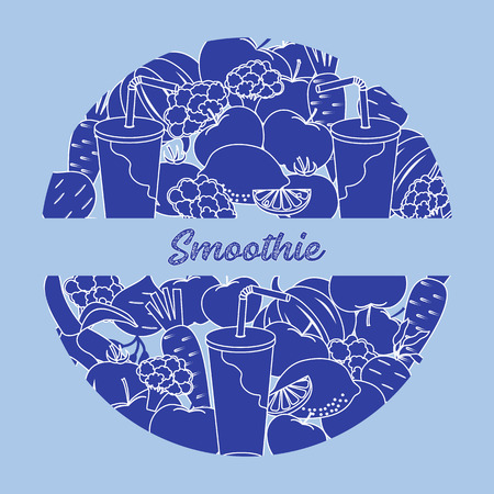 Smoothie and ingredients for making smoothie. Healthy eating habits. Design for banner and print. Vettoriali