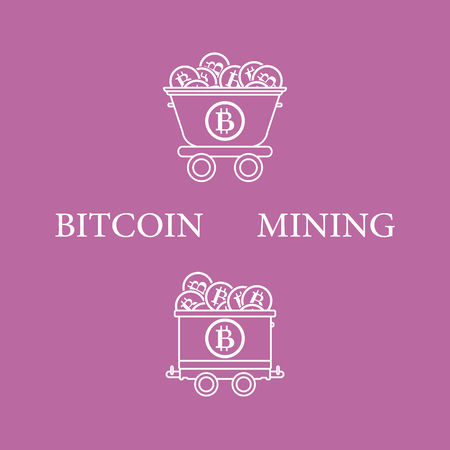 Mining of bitcoins. Mining trolleys with bitcoins. Digital currency. Blockchain technology.