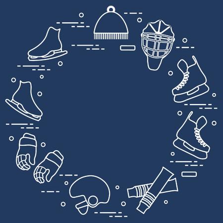 Skates, gloves, hat, goalkeeper's mask and helmet, leggings. Winter sports elements. Illustration