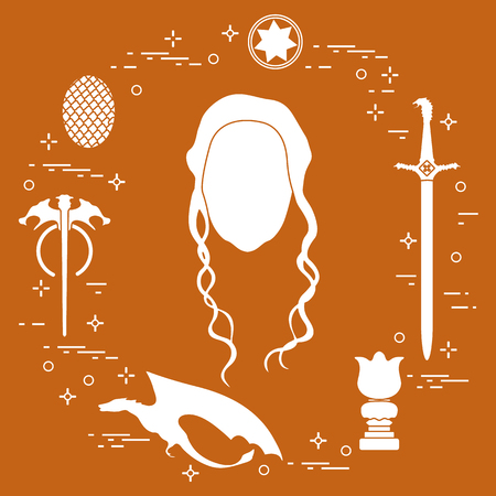 Symbols and heroes of the popular fantasy television series. Art and cinema theme. Illustration