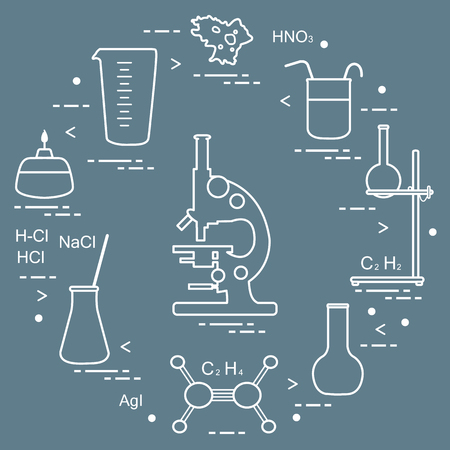 Chemistry scientific, education elements: microscope, flasks, tripod, formulas, beaker, burner, amoeba, measuring cup. Design for banner, poster or print.