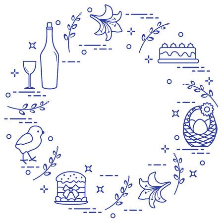 Different Easter symbols arranged in a circle: simnel cake, chick, lily, baskets, eggs and other. Design for banner, poster or print.  Ilustração