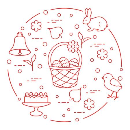 Easter symbols on white background.