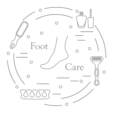 Pedicure tools and products for beauty and care. Nail polish, pumice, shaver, toe separator.